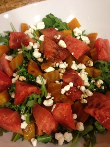 Roasted beet & watermelon salad with goat cheese