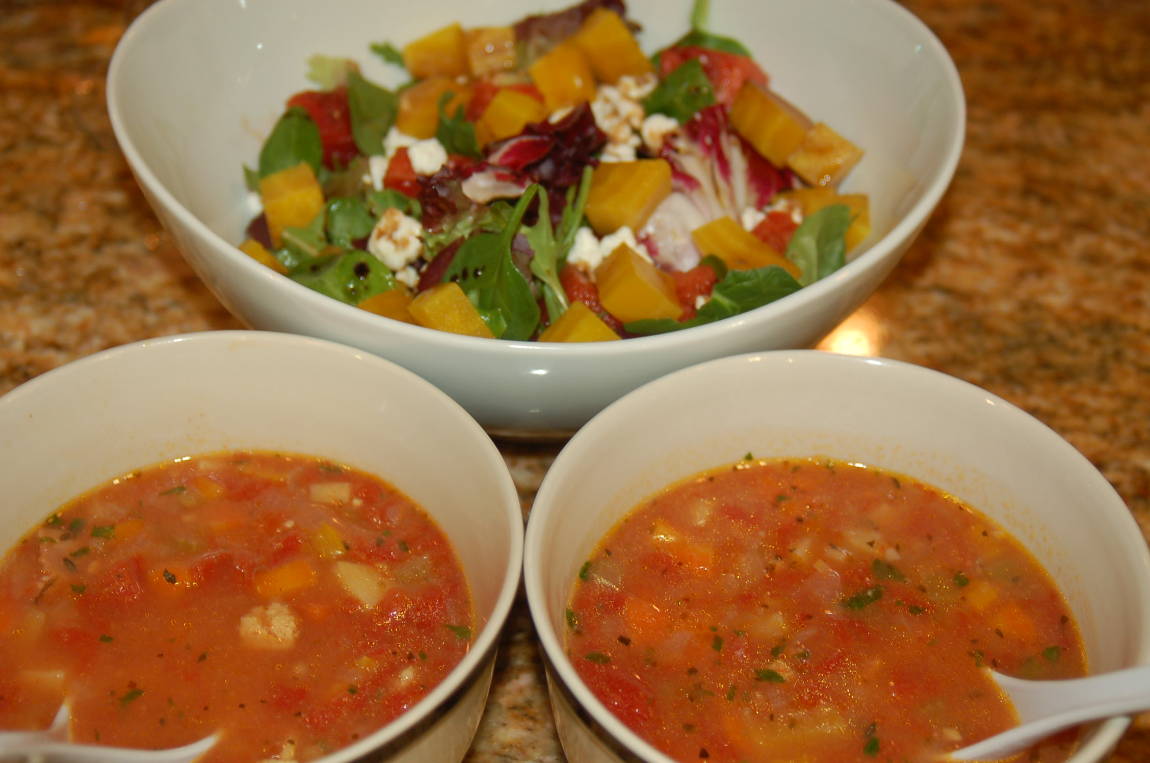 This spicy and hearty Manhattan Clam Chowder pairs nicely with my sweet and refreshing Beet & Watermelon Salad.