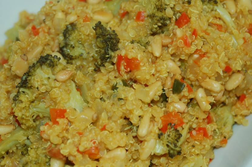 Quinoa with Turmeric, Peppers, Onions and Broccoli