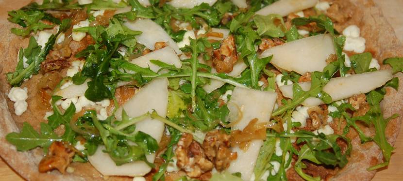 Pear and Goat Cheese Pizza with CaramelizedOnions