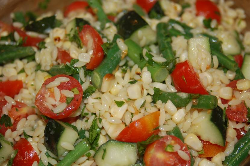 Roasted Corn, String Bean, Tomato and Cucumber Orzo Salad