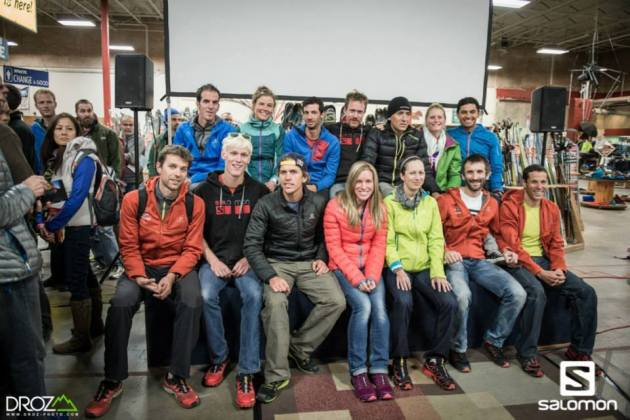 My apologies to Salomon fo the photo bomb.  Some of the athletes here are: François D'haene, Michel Lanne, Cameron Clayton, Emelie Forsberg, Ryan Sandes, Kilian Jornet, Ricky Gates, Miguel Angel Heras and Anna Frost.