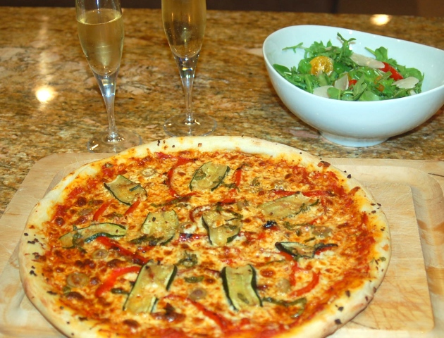 Use the extra mozzarella, parmesan, tomato sauce, roasted zucchini and roasted peppers to make a pizza the next day.  Enjoy it with champagne like I did here.