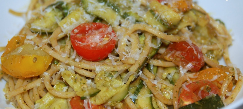 Garlicky Roasted Vegetable Pasta with Pesto