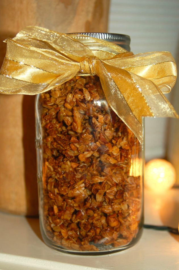 The granola can be stored up to a week in an airtight container.  They also make nice gifts.