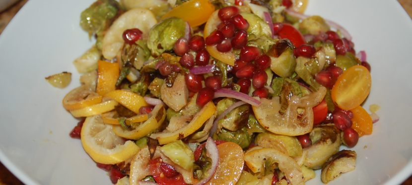 Roasted Brussels Sprout Salad with Lemon and Pomegranate