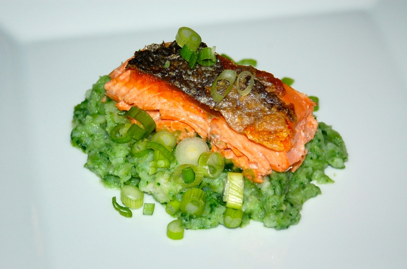 Crispy Salmon and Colcannon (Irish Potatoes with Cabbage, Kale and Leeks)