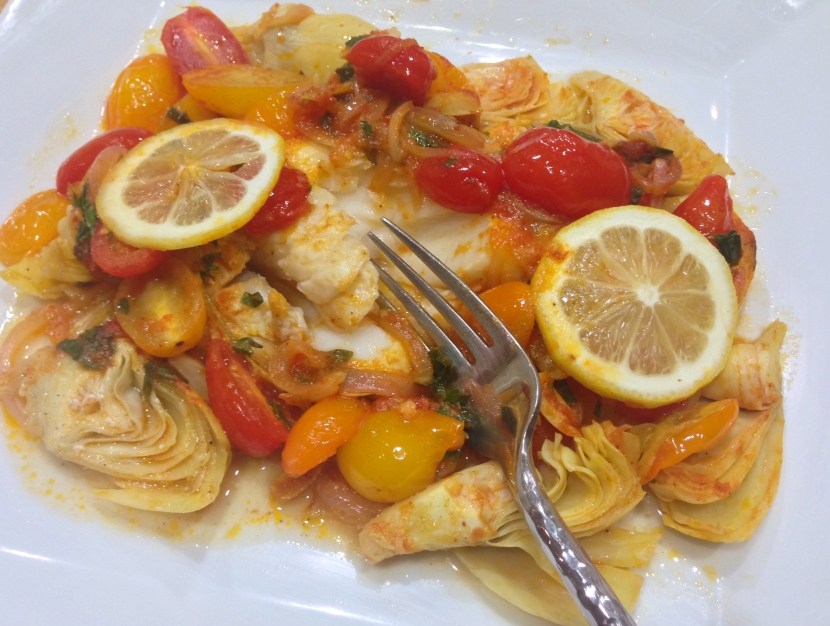 Cod Baked with Tomatoes, Artichokes and Lemon (Psari Plaki)