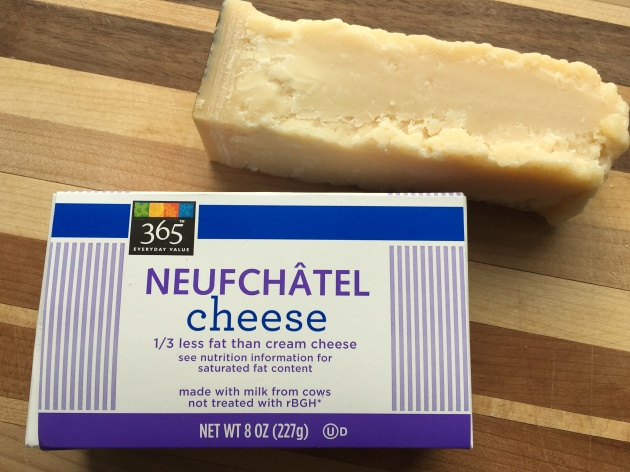 Neufchatel and Parmigiano-Reggiano combine with milk into a creamy Alfredo sauce.