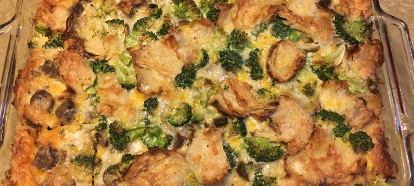 Egg, Vegetable and Croissant Breakfast Casserole