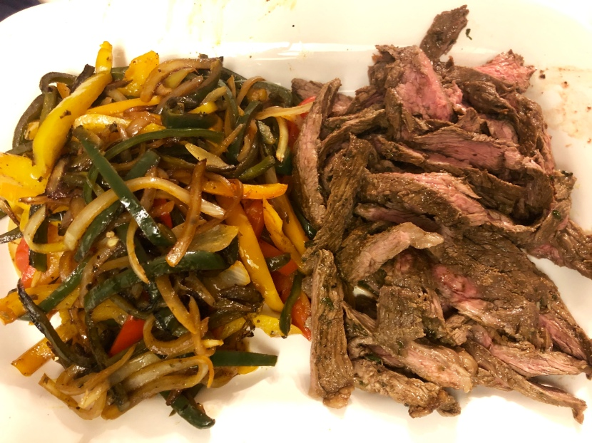 Beef Fajitas with Poblano Peppers, Bell Peppers and Onions